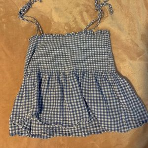 blue and white plaid tie tank top!